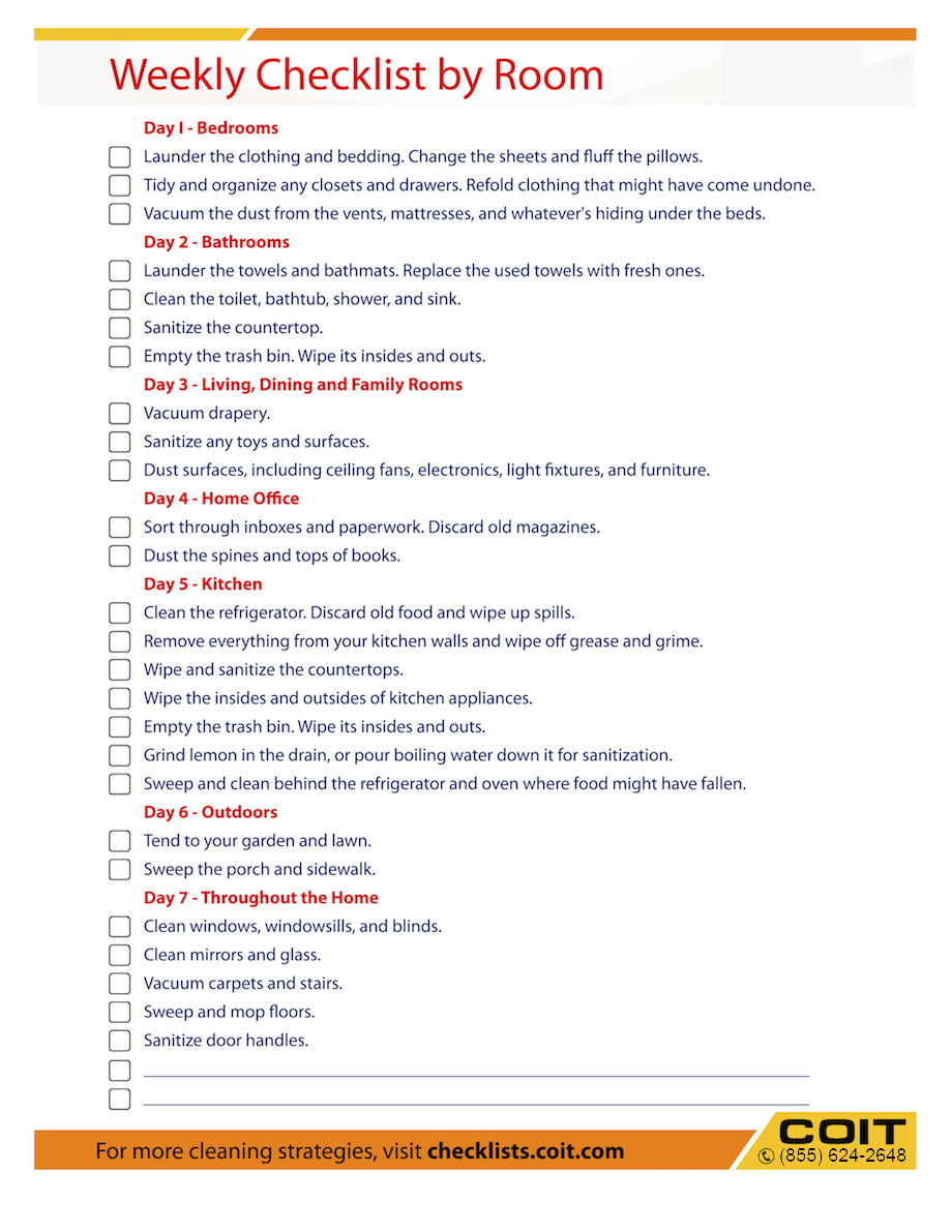 weekly cleaning checklist by rooms