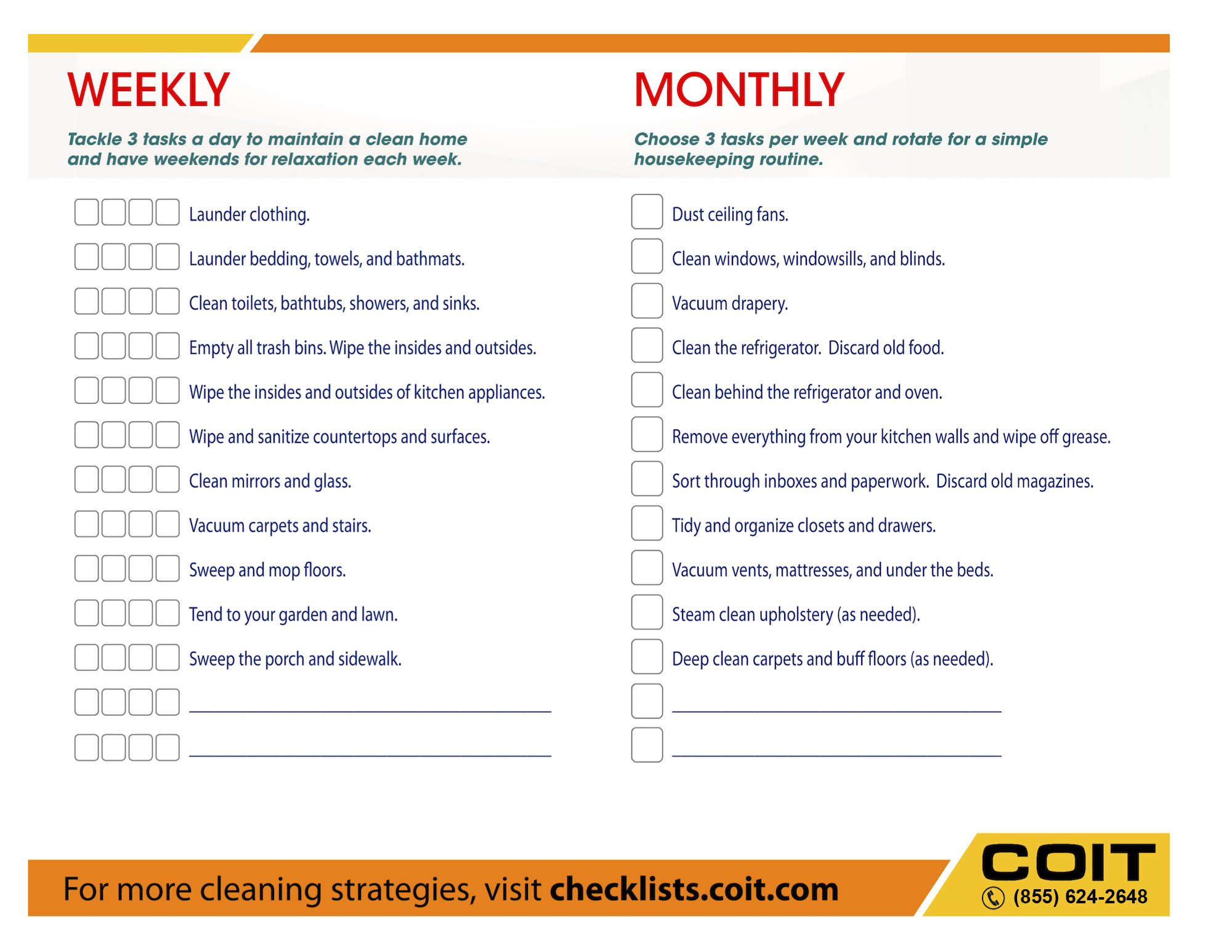 Weekly and Monthly House Cleaning Checklist | COIT