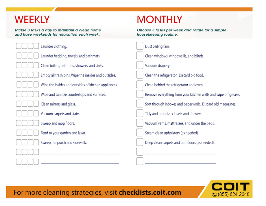 Weekly And Monthly House Cleaning Checklist  Coit