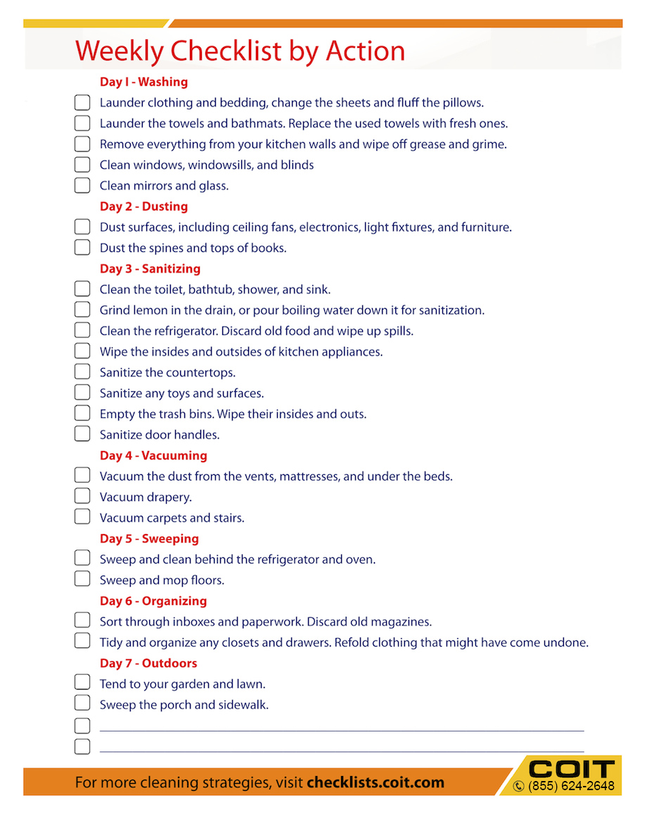 weekly cleaning checklist by action