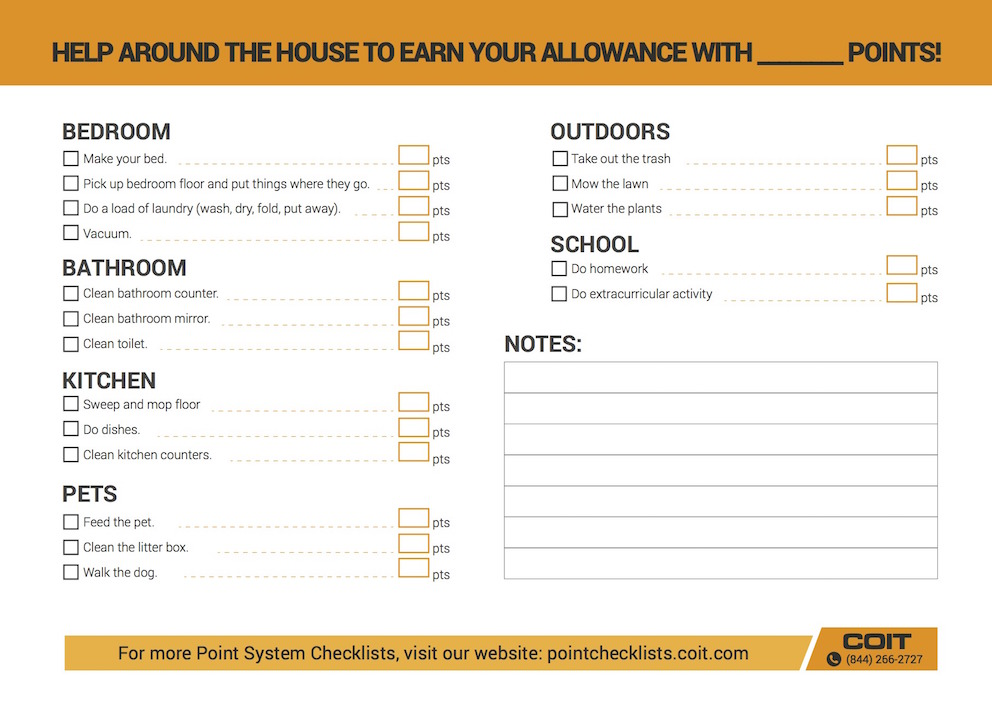 Earn Your Allowance Checklist Kid Friendly Checklist Coit