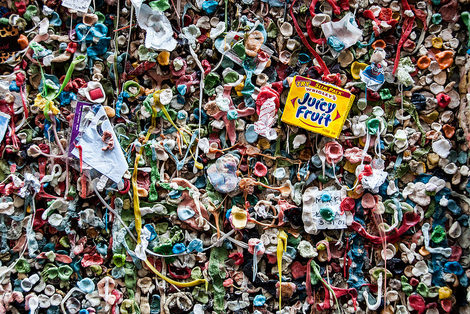 Colorful gum stuck to a wall - Seattle Gum Wall by Mark Fischer
